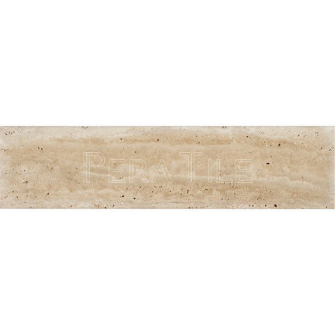 "4""X16""X3/4"" Vein Cut Light Travertine Tile - Brushed"