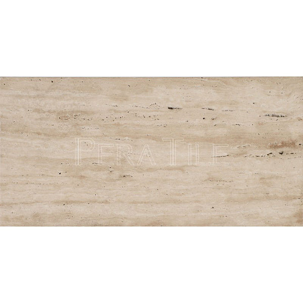 "12""X24""X1/2"" Vein Cut Light Travertine - Brushed.."