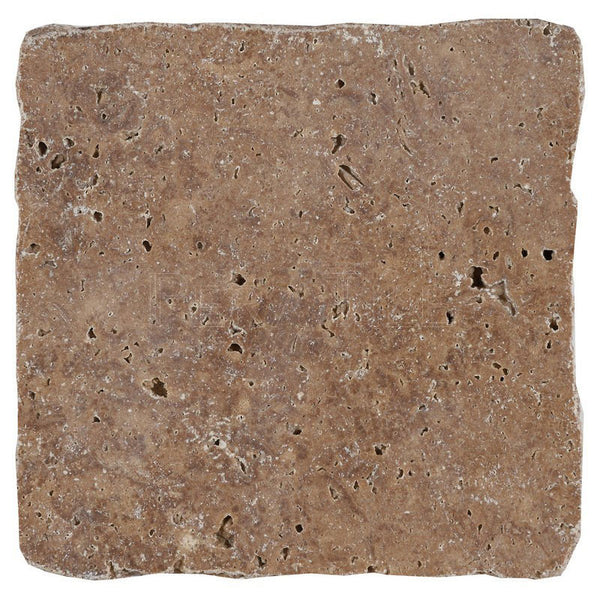 "4""X4""X3/8"" Noce Trv Tile - Slightly Tumbled, 4 Edges Hand-Broken"