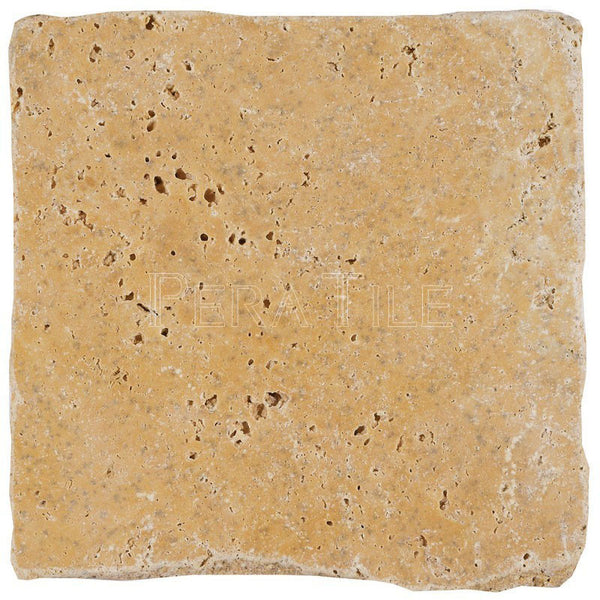 "4""X4""X3/8"" Gold Travertine Tile - Slightly Tumbled, 4 Edges Hand-Broken"