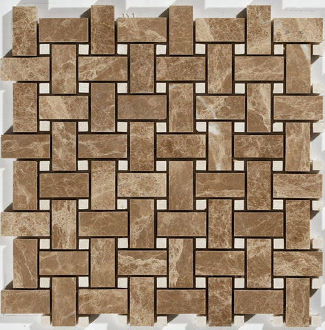 "1""X2"" Basket Weave Mosaic In Light Emperador  + Turkish Marfil [Dots] - Polished"