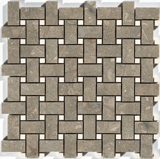 "1""X2"" Basket Weave Mosaic In Seagrass + Lymra [Champagne]  [Dots] - Honed"