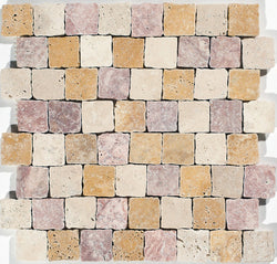 "1 1/2""X1 1/2"" Offset Mosaic In Light+ Gold + Red Travertine"