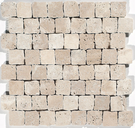 "1 1/2""X1 1/2"" Offset Mosaic In Light Travertine- Slight Tumbled, Hand-Broken Edges (1.1 Sqft/Sh)"