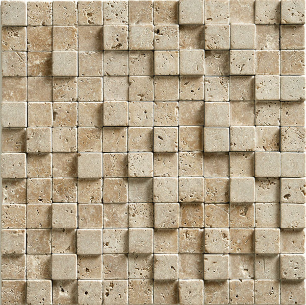 "1""X1"" 3D Mosaic In Noce Trv - Tumbled"