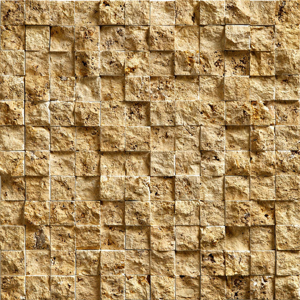 "1""X1"" Mosaic In Gold Travertine - Split Face"