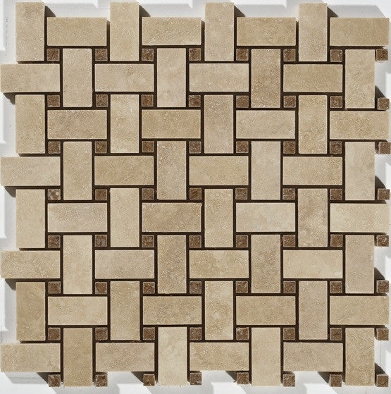 "1""X2"" Basket Weave Mosaic In Light Travertine+ Noce  [Dots] - Honed"