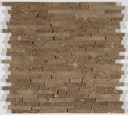 "3/8"" Random Length Random Stick Mosaic In Noce Travertine"
