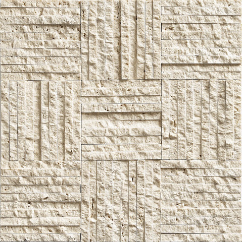 "3/8""X4"" Mosaic In Light Travertine- Split Face"