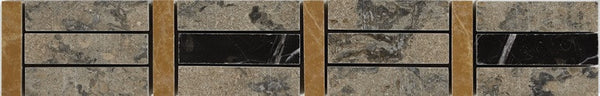 "2""X12"" Border In Emgoni Marble + Nero Marquina + Tobacco - Polished"