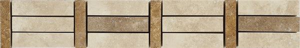 "2""X12"" Border In Light Travertine+ Noce + Gold Travertine - Honed Filled"