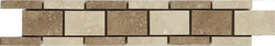 "2""X12"" Border In Light Travertine+ Noce - Honed Filled"