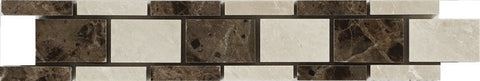"2""X12"" Border In Turkish Marfil + Maroon Emperador - Polished"
