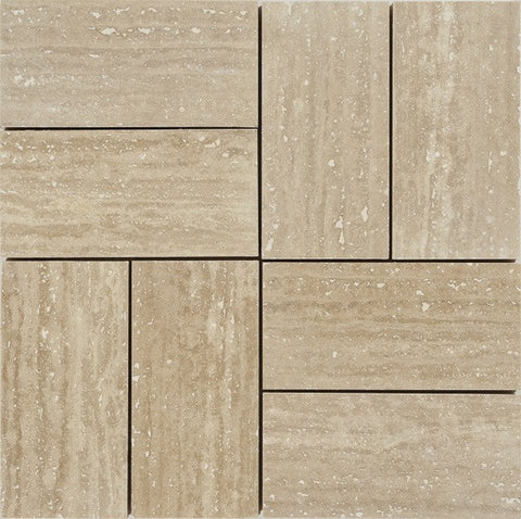 "3""X6"" Stack Mosaic In Vein Cut Light Travertine - Honed Filled"