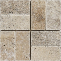 "3""X6"" Stack Mosaic In Scabos Travertine - Tumbled"