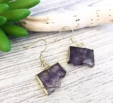 RAW AMETHYST SLICE EARRINGS