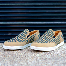 KAKLE SLIP-ON HUARACHE SNEAKER FOR MEN IN CAMEL LEATHER WITH NAVY WEAVE