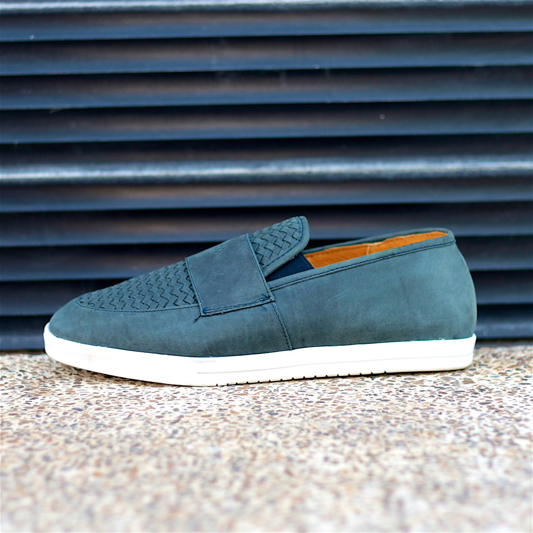 CAPONE SLIP-ON HUARACHE SNEAKER FOR MEN IN NAVY LEATHER WEAVE