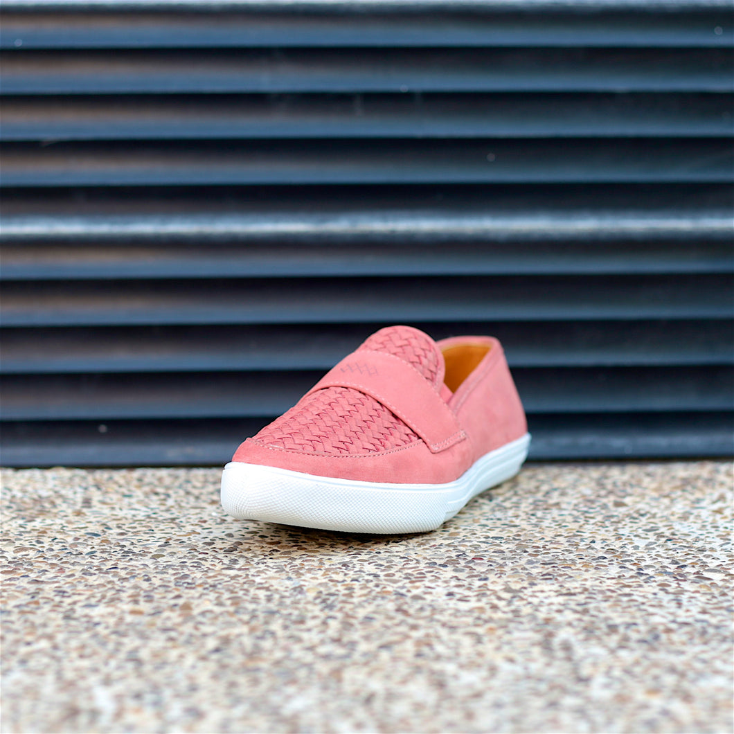 CAPONE SLIP-ON HUARACHE SNEAKER FOR WOMEN IN PINK LEATHER WEAVE