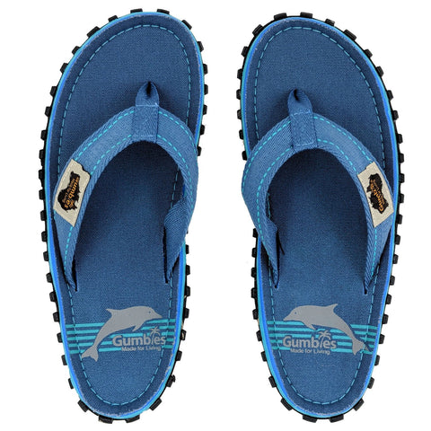 Gumbies Islander Canvas Flip Flops - Blue Pool