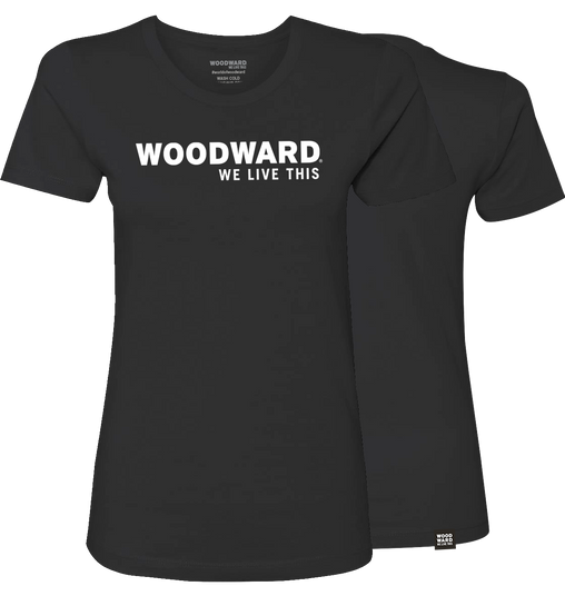 """We Live This"" Womens Woodward Line Logo Black Short Sleeve T-Shirt"