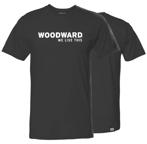 """We Live This"" Woodward Line Logo Black Short Sleeve T-Shirt"