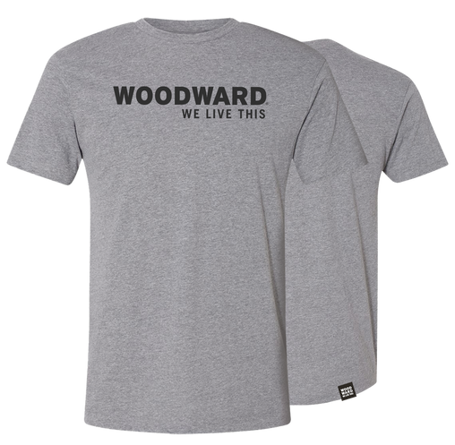 """We Live This"" Woodward Line Logo Granite Short Sleeve T-Shirt"