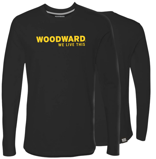 """We Live This"" Woodward Line Logo Black Long Sleeve T-Shirt"
