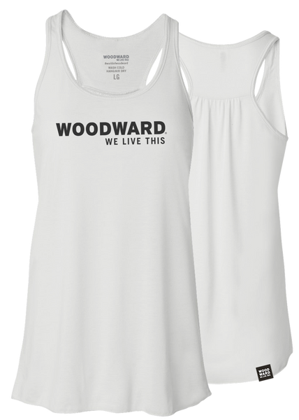 """We Live This"" Womens Woodward Line Logo White Racerback Tank"