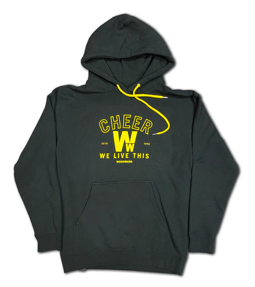 "Cheer ""We Live This"" Womens Hooded Pullover"