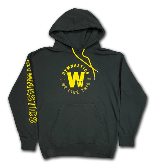 "Gymnastics ""We Live This"" Womens Hooded Pullover"