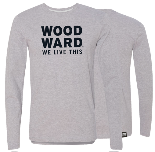 """We Live This"" Woodward Stacked Logo Long Sleeve T-Shirt"