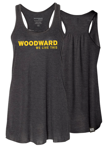 """We Live This"" Womens Woodward Line Logo Black Racerback Tank"