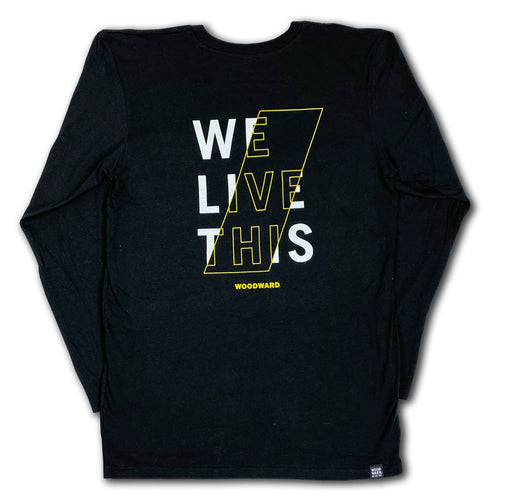 """We Live This"" Hashmark Woodward Stacked Logo Black Long Sleeve T-Shirt"