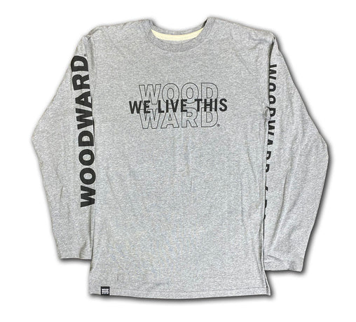 """We Live This"" Woodward Line Logo Granite Heather Long Sleeve T-Shirt"