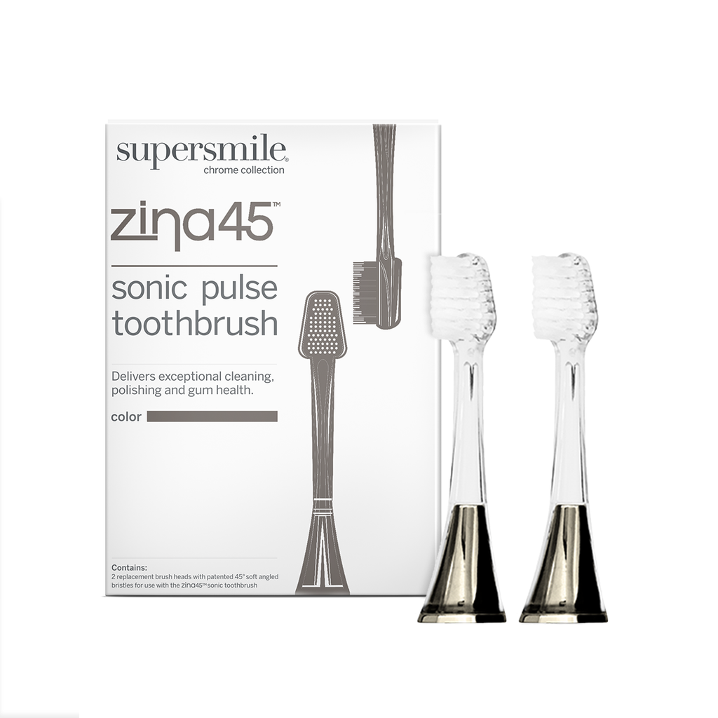 zina45 sonic replacement heads, tufted toothbrush, soft bristles, cleans below gumline, polish teeth