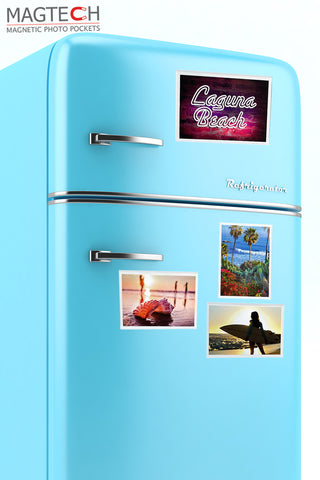 Refrigerator with photo pockets featuring beach