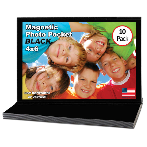 4x6 Magnetic Photo Pocket | Black | 10 Pack