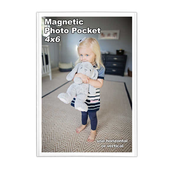 4 inch by 6 inch magnetic photo pocket