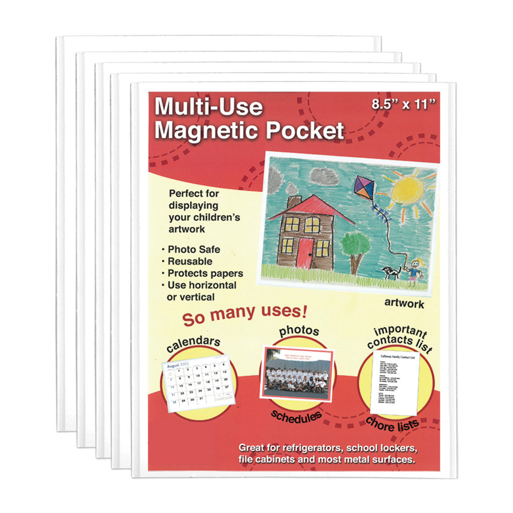 8.5x11 mulit-use magnetic pocket, 5 pack, great for utility manuals
