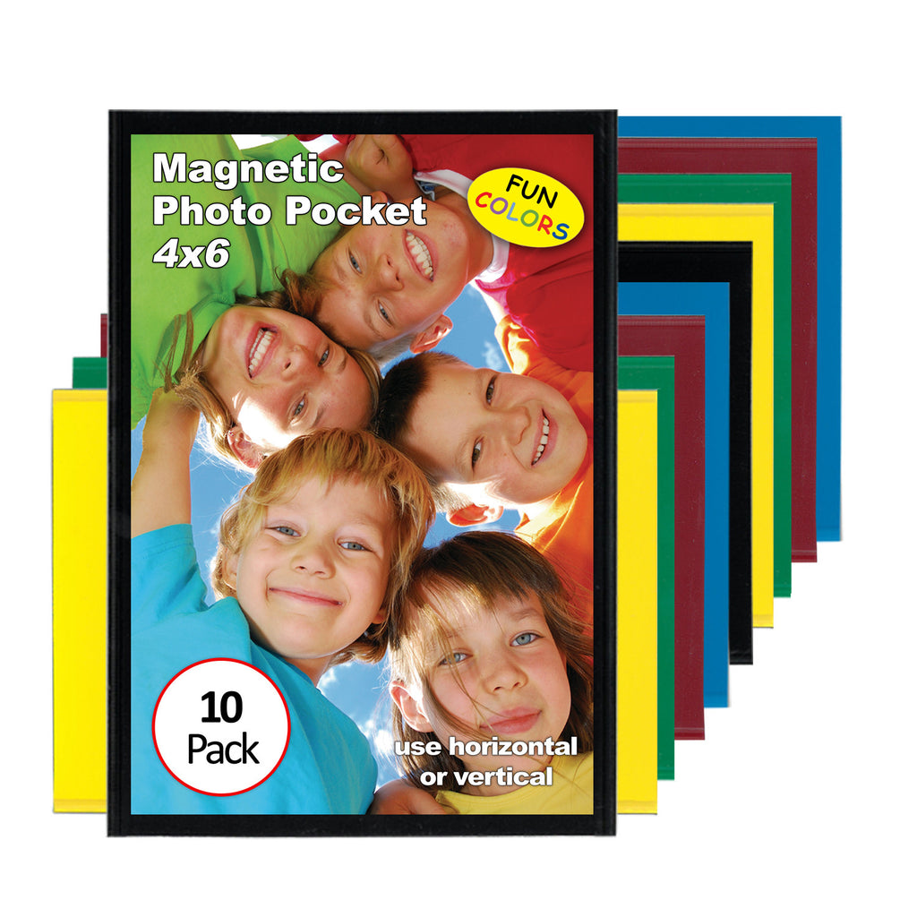 10 pack of 4x6 magnetic photo pocket picture frames, cool colors