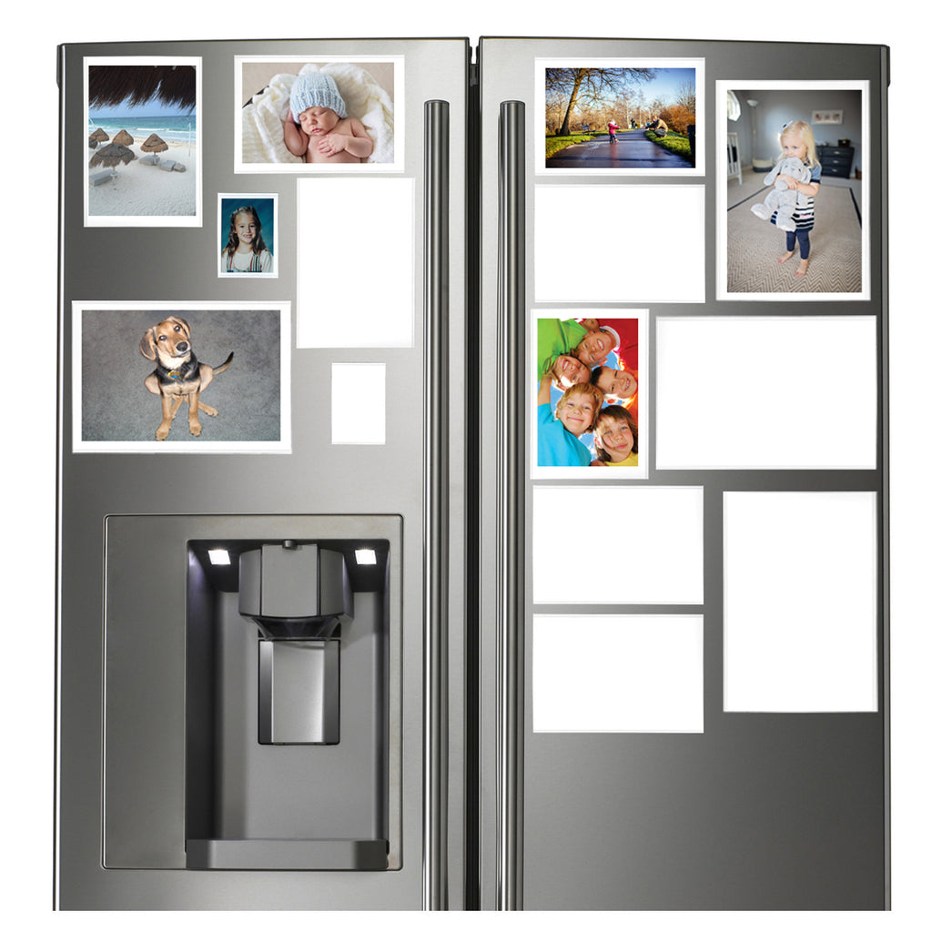 many picture frames on refrigerator look great