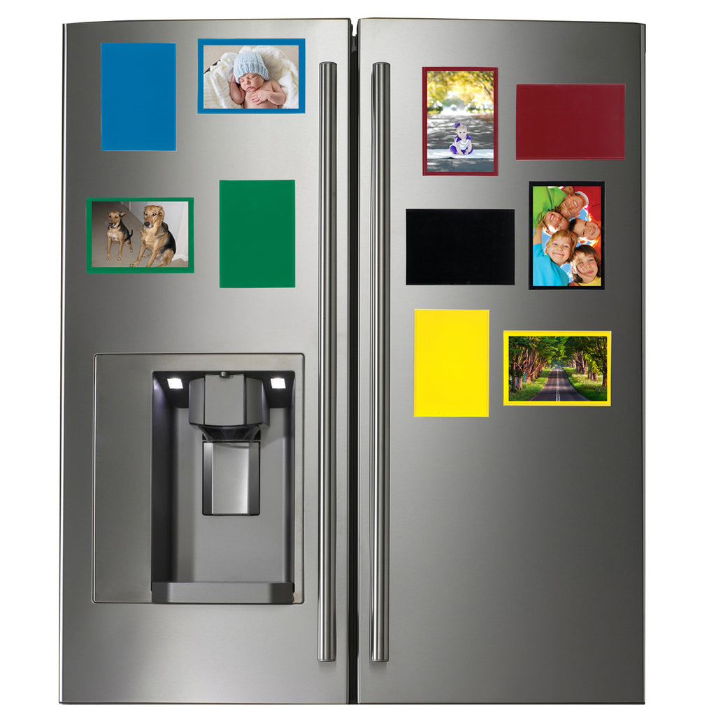refrigerator with colorful picture frames, blue, green, red, black, yellow