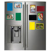 colorful picture frames on the refrigerator