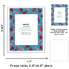 blue apple picture frame border for school pictures magnetic photo pocket