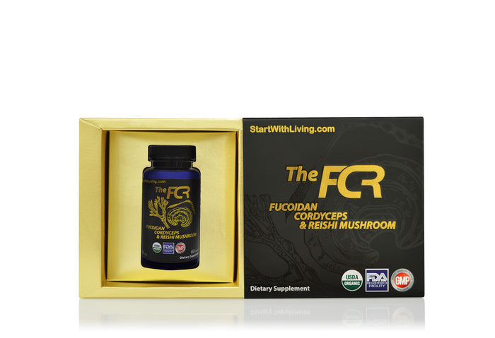 the fcr bottle with box, fucoidan cordyceps and reishi mushroom