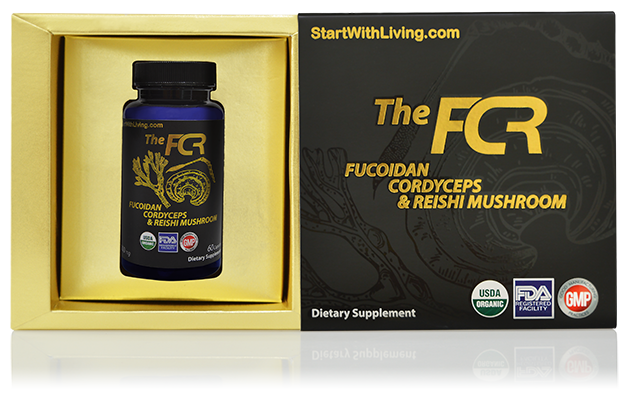 the fcr bottle with fucoidan, cordyceps and reishi mushroom