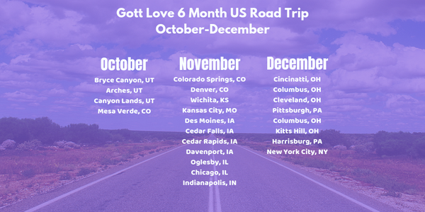 6 month US road trip Gott Love road tripping the United States October-December