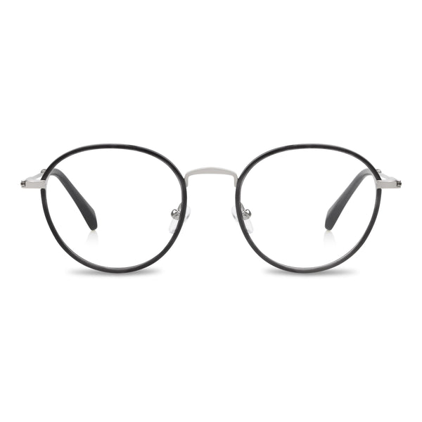 Alex Windsor Prescription Glasses Silver metal blue windsor front