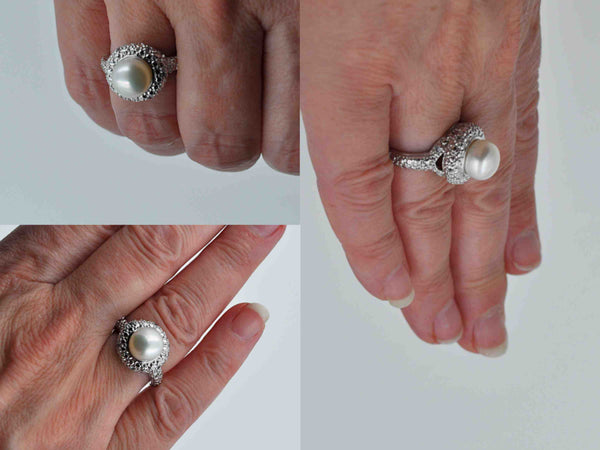 Contemporary Sterling Silver Cultured Pearl Cocktail Ring, White Pearl, Statement Ring, Size 7, Amazingly Beautiful! #c246